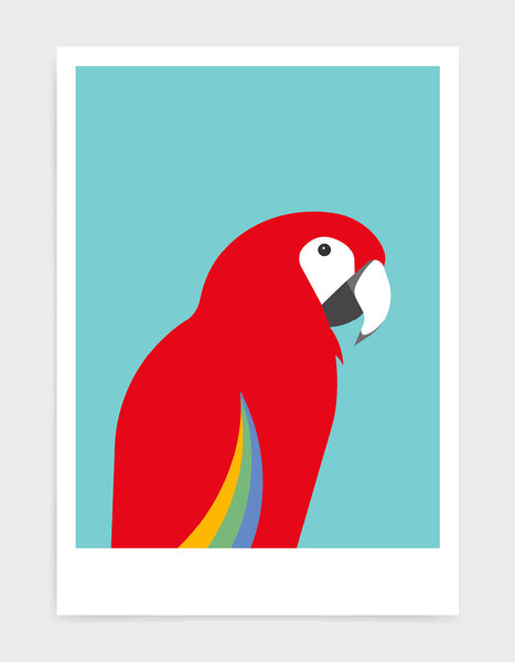 art print of a macaw parrot against a aqua blue background