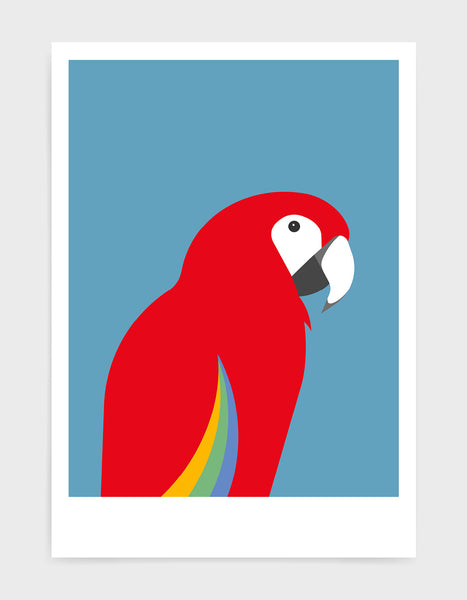 art print of a macaw parrot against a sky blue background