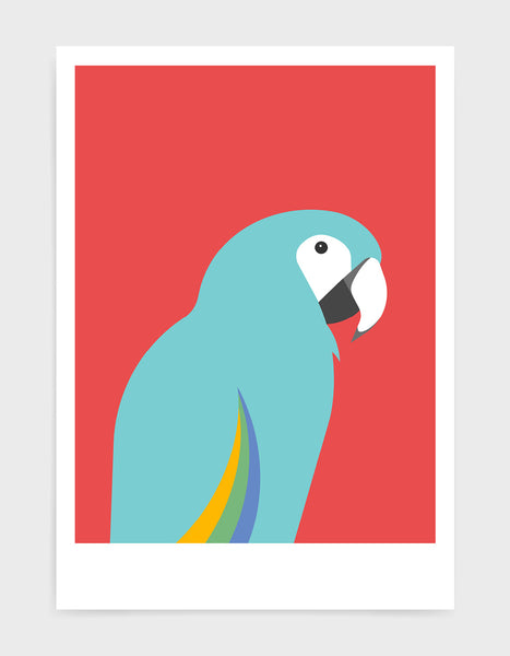 art print of a macaw parrot against a red background