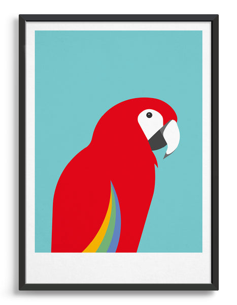 framed art print of a Macaw parrot against a aqua blue background