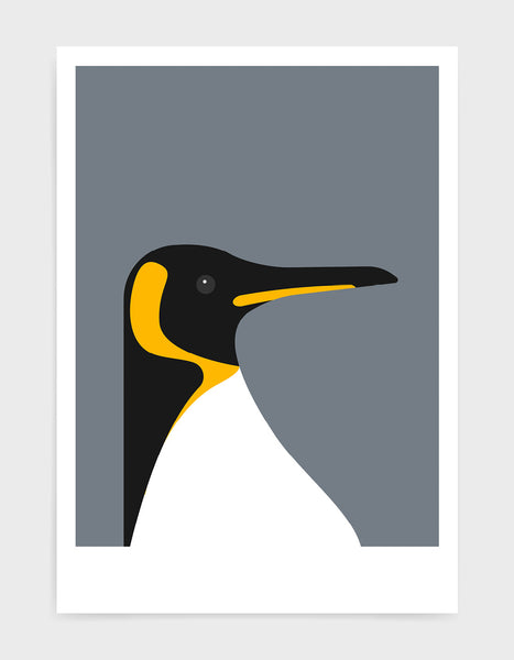 art print of a penguin on a dark grey background
