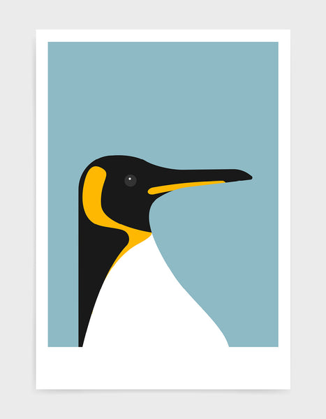 art print of a penguin on a light blue background