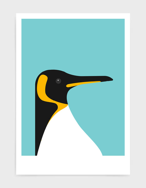 art print of a penguin on a aqua blue background