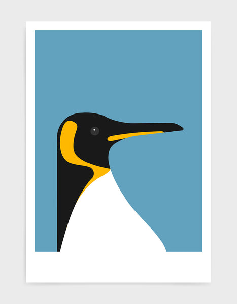 art print of a penguin on a sky blue background