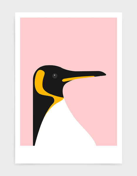 art print of a penguin on a pink background