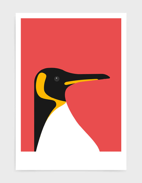 art print of a penguin on a red background