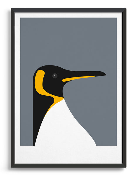 framed art print of a penguin on a dark grey background