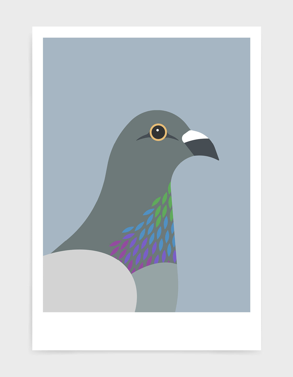 art print of a pigeon in profile against a light grey background