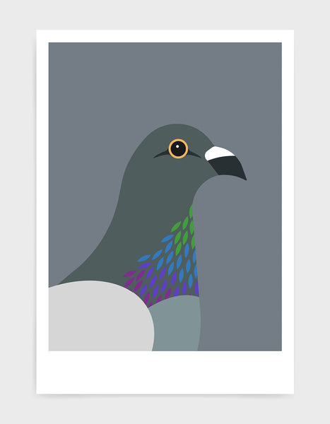 art print of a pigeon in profile against a dark grey background