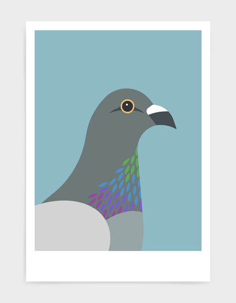 art print of a pigeon in profile against a light blue background