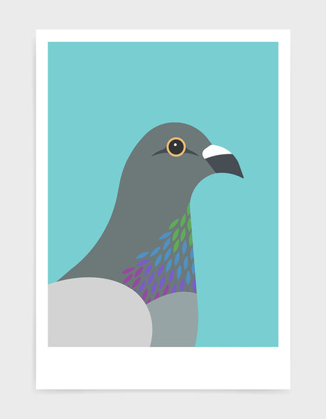 art print of a pigeon in profile against a aqua blue background