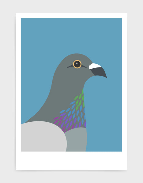art print of a pigeon in profile against a sky blue background