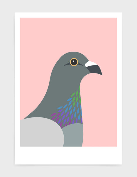 art print of a pigeon in profile against a pink background