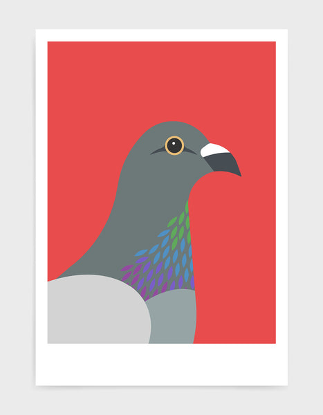 art print of a pigeon in profile against a red background