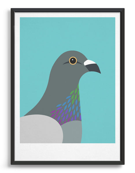 framed art print of a pigeon in profile against an aqua blue background