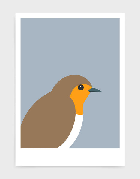 art print of a robin in profile against a light grey background