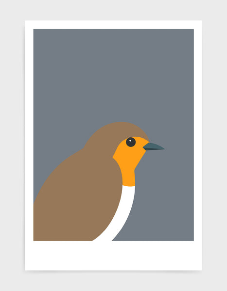 art print of a robin in profile against a dark grey background