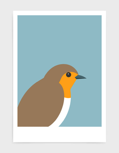 art print of a robin in profile against a light blue background