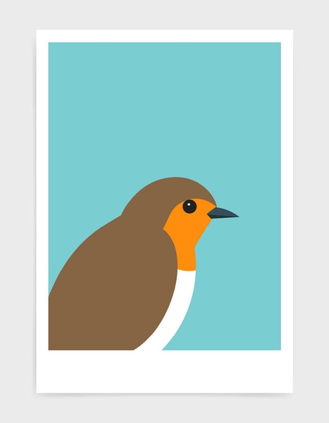 art print of a robin in profile against a aqua blue background