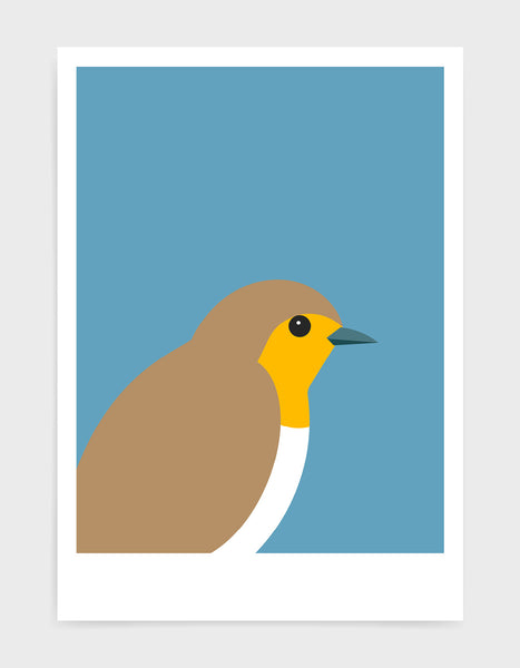 art print of a robin in profile against a sky blue background