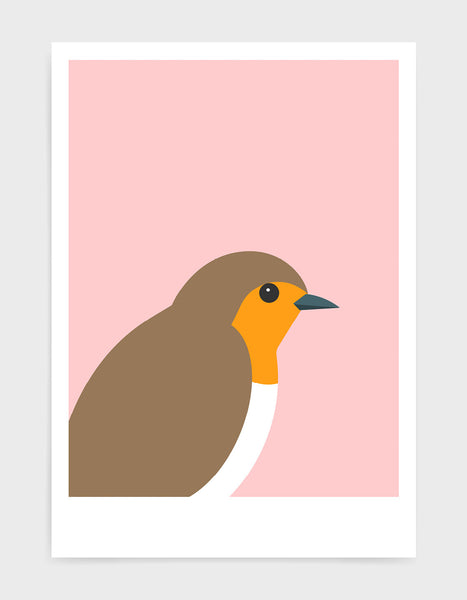 art print of a robin in profile against a pink background