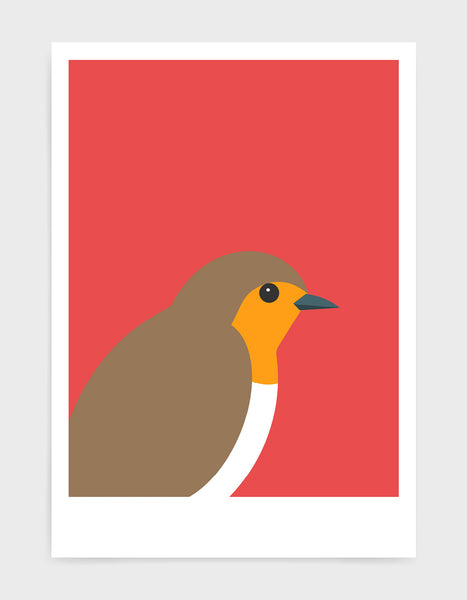 art print of a robin in profile against a red background