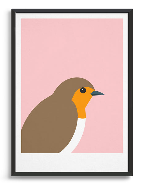 framed art print of a robin in profile against a pink background