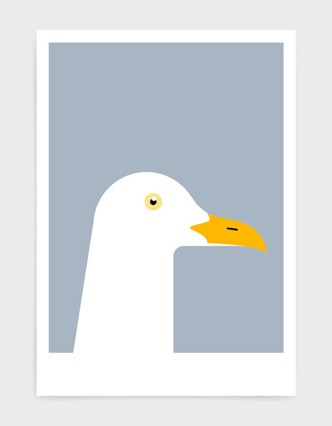 art print of a seagull in profile against a light grey background