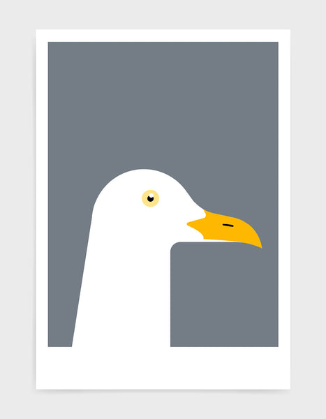 art print of a seagull in profile against a dark grey background