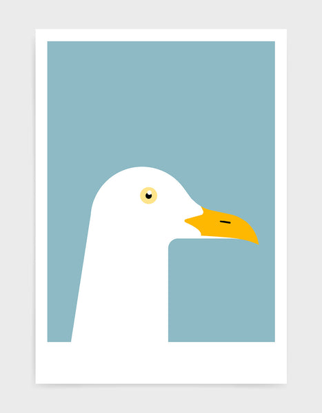 art print of a seagull in profile against a light blue background
