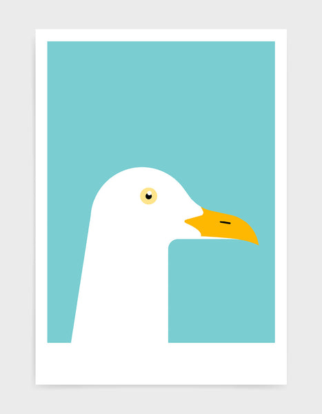 art print of a seagull in profile against a aqua blue background