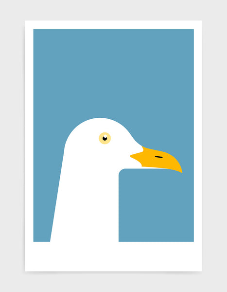 art print of a seagull in profile against a sky blue background