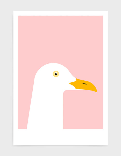 art print of a seagull in profile against a pink background
