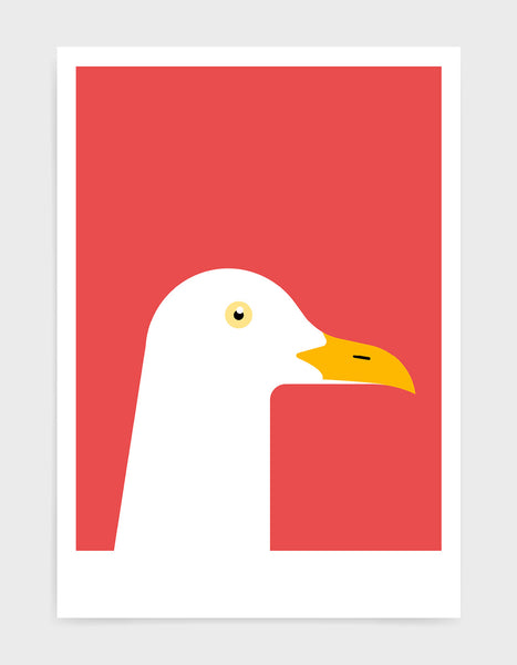 art print of a seagull in profile against a red background