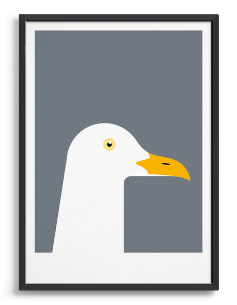 framed art print of a seagull in profile against a dark grey background