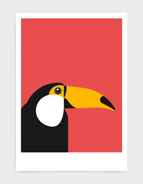 art print of a toucan in profile against a red background