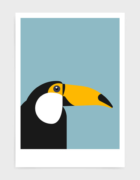 art print of a toucan in profile against a light blue background