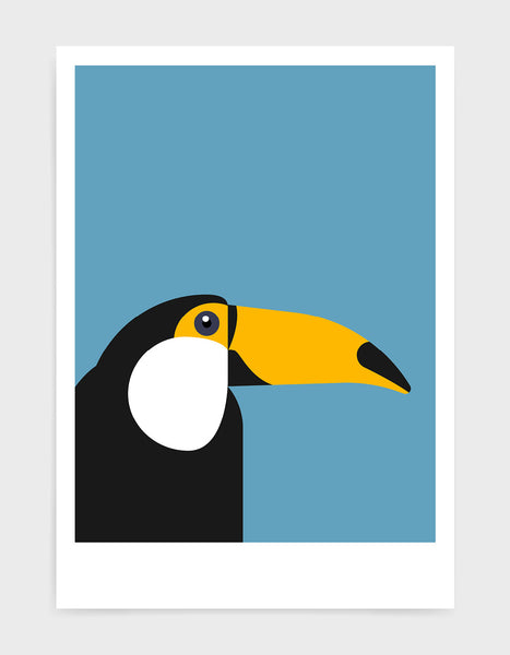 art print of a toucan in profile against a sky blue background