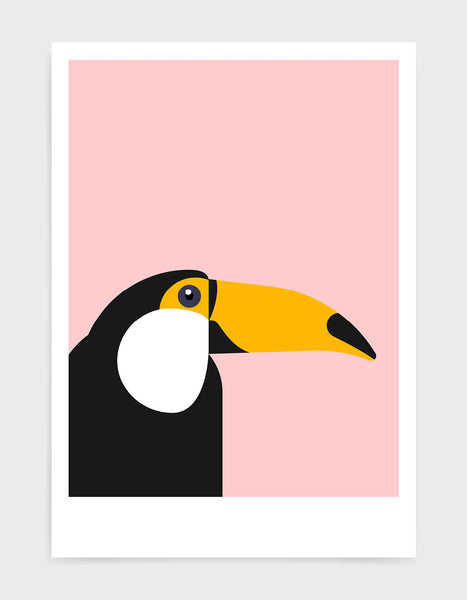 art print of a toucan in profile against a pink background