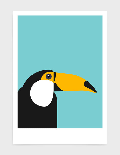 art print of a toucan in profile against a aqua blue background