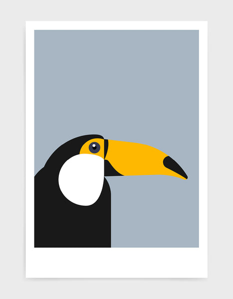art print of a toucan in profile against a light grey background