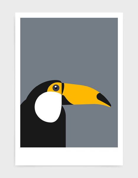 art print of a toucan in profile against a dark grey background