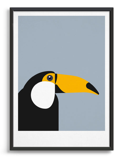 framed art print of a toucan in profile against a light grey background