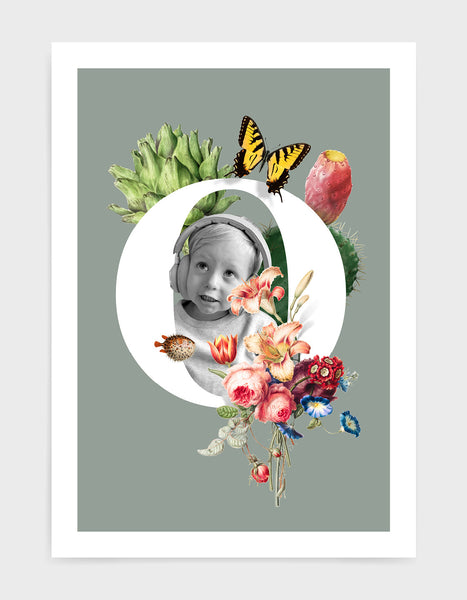 Initial print with custom photo and decorated with vintage illustrations including butterfly, flora and fauna against a grey background