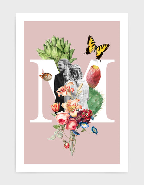 Initial print with custom photo and decorated with vintage illustrations including butterfly, flora and fauna against a pink background