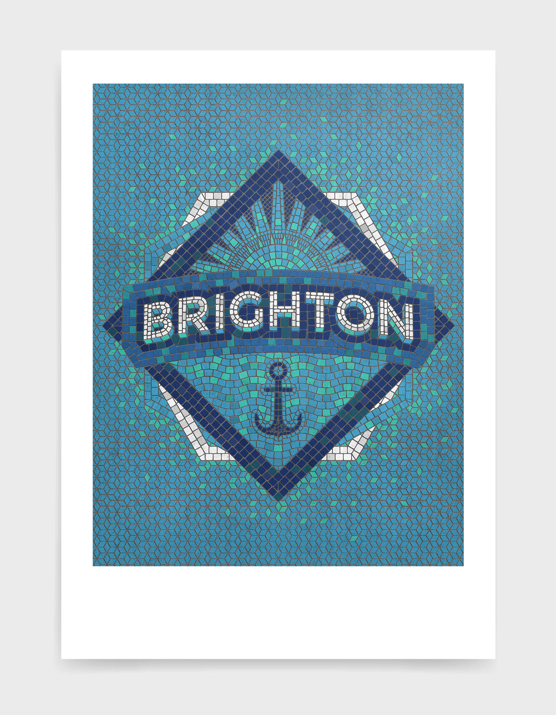 Blue mosaic art print with Brighton text and an anchor