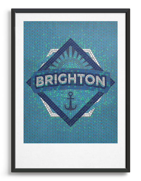 Framed image of Brighton mosaic art print in blue with anchor