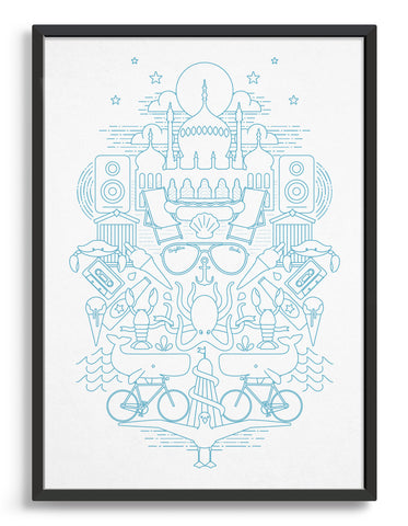 framed art print featuring Brighton illustrations including royal pavilion, sunglasses and seagulls in light blue