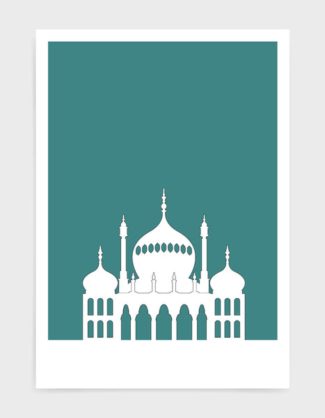 art print featuring Brighton Royal Pavilion in white against a aqua green background