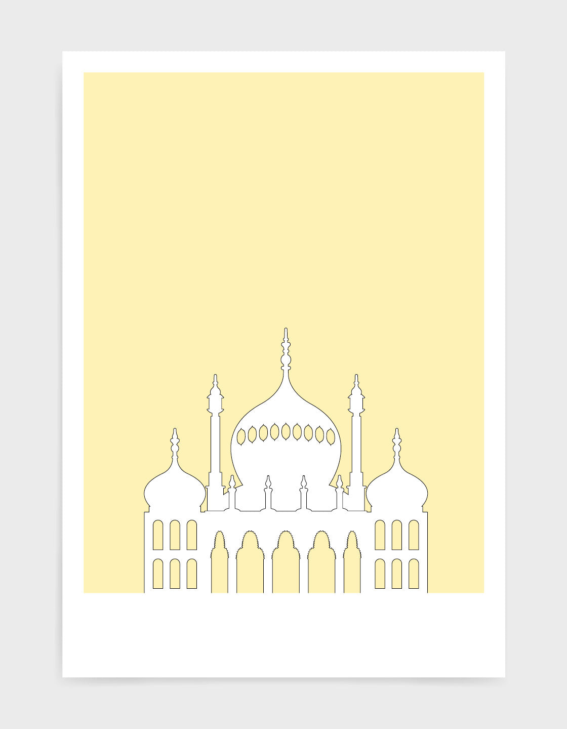 art print featuring Brighton Royal Pavilion in white against a light yellow background